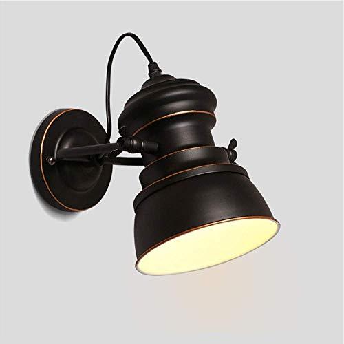 LONGWDS Lámpara de pared industrial estilo retro E27 hierro forjado material fuente de luz LED cuerpo puede ser libre para girar lámpara de pared espejo faros 5-10 metros cuadrados de alto gusto
