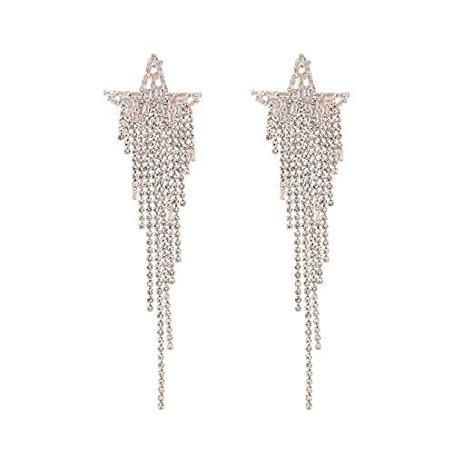 GYAM Pendientes Aretes De Borla De Estrella De Cinco Puntas con Diamantes De Aleación, Modernos Y Elegantes para Banquetes/Eventos/Cumpleaños(2 Pares)