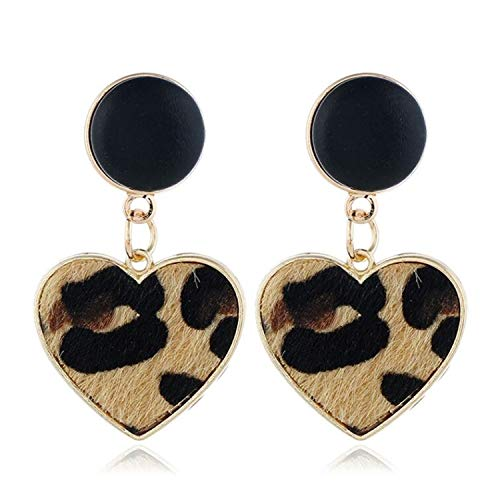 Sunwd Mujer Pendientes, New Black Imitation Velvet Heart Geometric Leopard Drop Earrings For Women Statement Trend Jewelry Gifts Oorbellen AE780 Brown