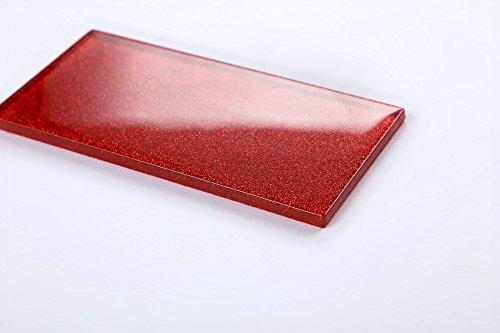 Glas Wand Fliese Rot mit Glitzer Fliese ist 7.5cm x 15cm. Die Stärke beträgt 6mm (MT0111)