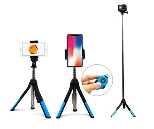 Bluetooth Selfie Stick Tripod, Extendable Phone Tripod Monopod with Wireless Remote Portable Monopod for iPhone Huwwei xiaomi Samsung Gopro