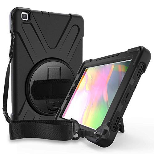 ProCase Bumper con Correa para Galaxy Tab A 8.0 2019 SM-T290 T295, Carcasa Rugosa con Soporte Rotativo Asa de Mano, Funda Robusta Antichoque –Negro