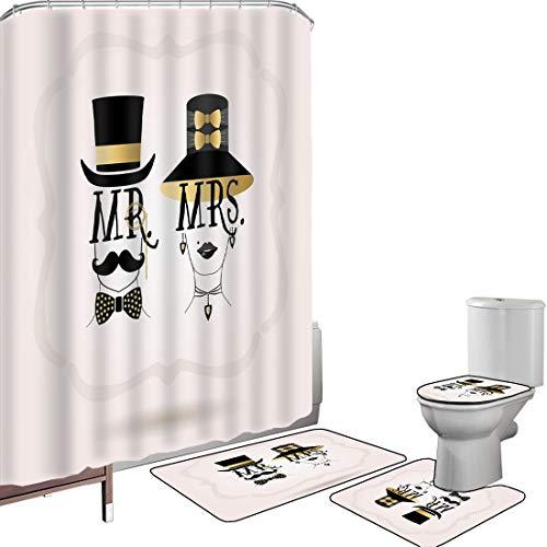 Juego de cortinas baño Accesorios baño alfombras SR Sra Alfombrilla baño Alfombra contorno Cubierta del inodoro El hombre y la mujer diseñan con el pendiente elegante del sombrero y el contexto en col