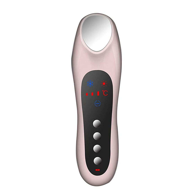 代表団洞窟裸スキンケア 家庭用USB充電冷温暖かいイオン深層導入デュアルモードホット&コールドスイッチング超音波振動マッサージマルチ運動エネルギー美容機器 (色 : Pink)