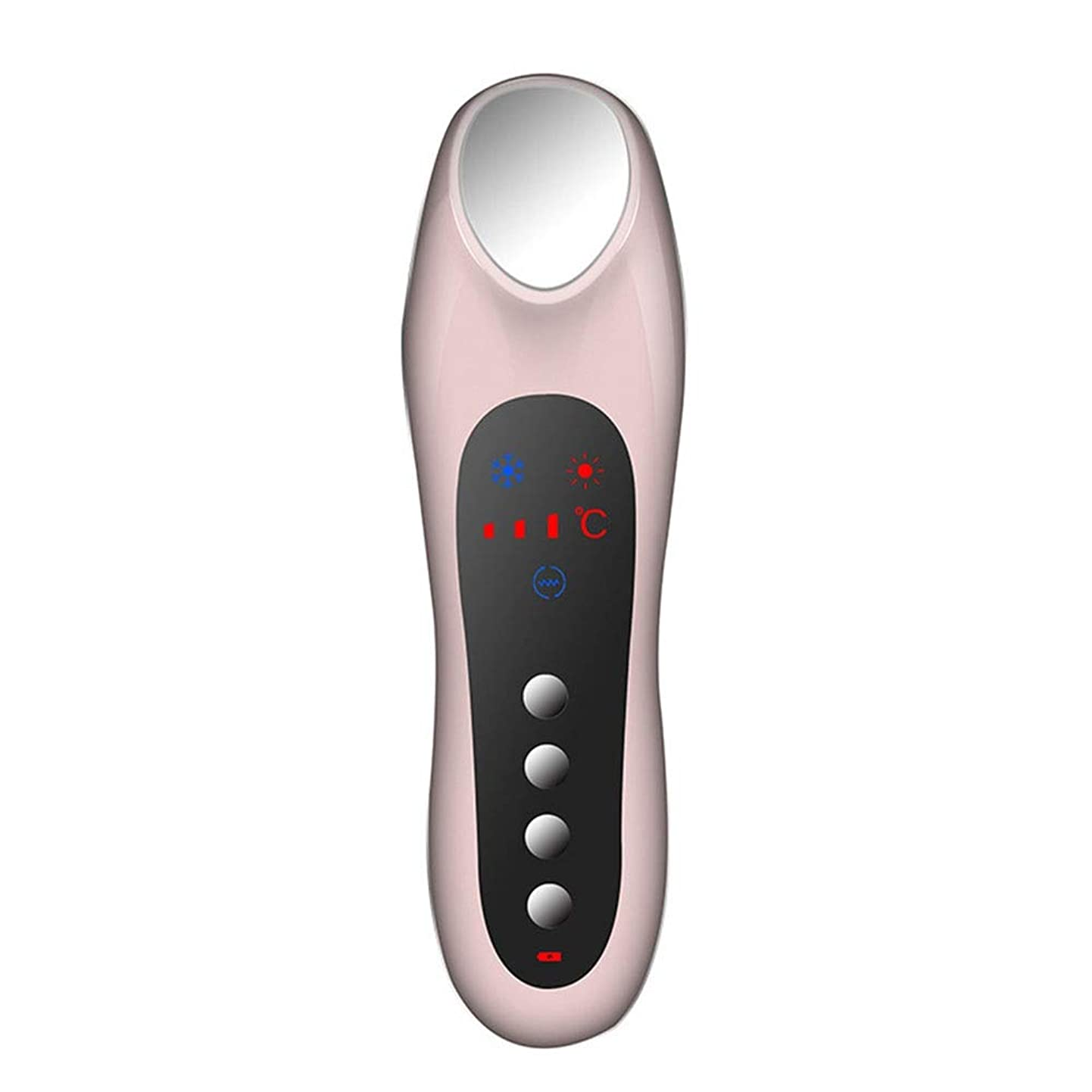 リースクローゼット歪めるスキンケア 家庭用USB充電冷温暖かいイオン深層導入デュアルモードホット&コールドスイッチング超音波振動マッサージマルチ運動エネルギー美容機器 (色 : Pink)