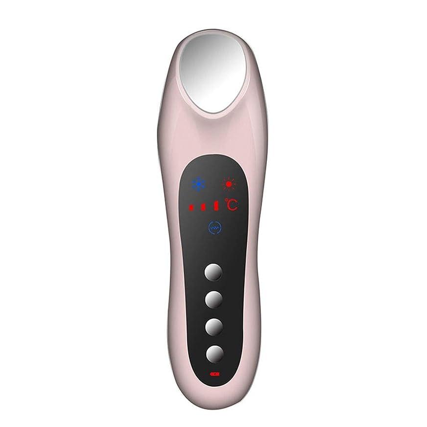 禁止シングル苛性スキンケア 家庭用USB充電冷温暖かいイオン深層導入デュアルモードホット&コールドスイッチング超音波振動マッサージマルチ運動エネルギー美容機器 (色 : Pink)