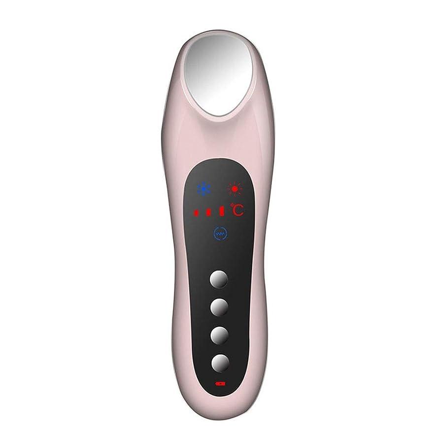 モードフォーカス降ろすスキンケア 家庭用USB充電冷温暖かいイオン深層導入デュアルモードホット&コールドスイッチング超音波振動マッサージマルチ運動エネルギー美容機器 (色 : Pink)