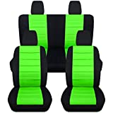 Totally Covers Compatible with 2011-2018 Jeep Wrangler JK Seat Covers: Black & Lime Green - Full Set: Front & Rear (23 Colors) 2-Door/4-Door Complete Back Solid/Split Bench