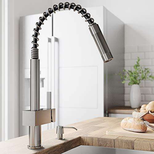 VIGO VG02009ST Lincroft 18 1/2 Inch Single Handle Pulldown Arc Brass Kitchen Sink Faucet, Single...