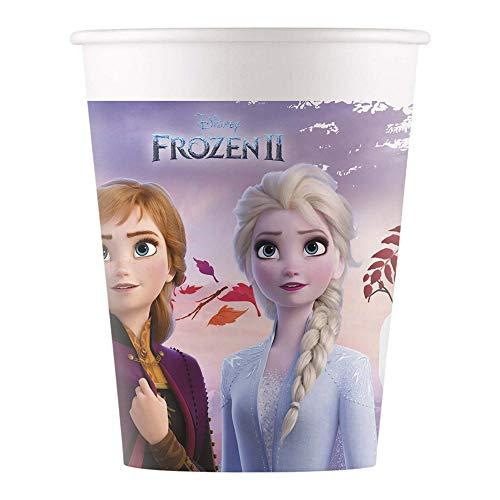 Disney Frozen 2 99484 Procos 91127 - Becher Frozen, 8 Stück, Fassungsvermögen 200 ml, Einwegbecher, Partygeschirr, Kindergeburtstag