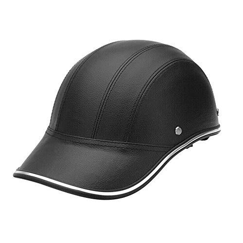 MOOUK Baseball Kappe Stil Motorrad Helm Anti-uv Visier für Herren Damen, Halb Offener mit Verstellbarem Gurt Retro Kopf Schutz Schutzhelm - Schwarz