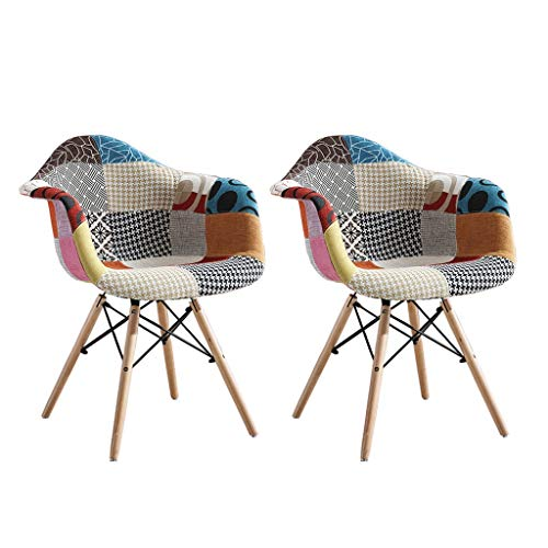 Xiaoli 2ST Nordic kreative Multicolor Patchwork Dining Chair Buche Natur Fuß Esszimmerstühle Home Küche Dining Chair (Color : A Pair)