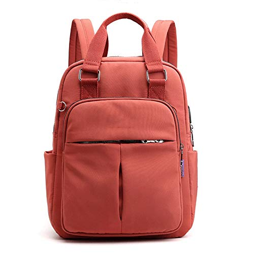 Ang-xj New USB charging female bag casual backpack tide backpack large capacity travel computer bag ladies bag mountaineering sports backpack riding bag outdoor travel bag (Color : Orange)