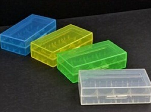 Bluecell Pack of Blue/Clear/Green/Yellow Battery Storage Case/Organizer/Holder for 18650 or CR123A Battery