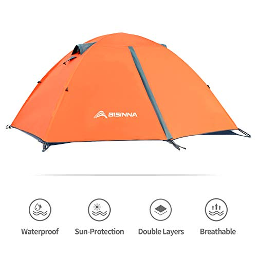 BISINNA 2 Person Camping Tent Lightweight Backpacking Tent Waterproof Windproof Two Doors Easy Setup Double Layer Outdoor Tent for Camping Beach Hunting Hiking Mountaineering Travel