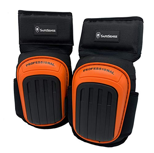 Professional Knee Pads for Work Anti-Slip Heavy Duty Foam Padding and Comfortable Gel Cushion for Construction Gardening Flooring Cleaning with Adjustable Velcro Straps (Orange)