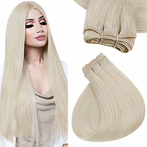 Easyouth Sew in Hair Extensions Human Hair Color White Blonde Weft Hair Bundles Full Head Remy Hair Weave Weft Bundles Extensions for Women 20inch 100g per Package