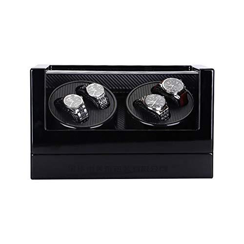ZIXIXI Reloj Agitador Reloj Mecánico Caja De Motor De Bobinado Automático Ajuste De 5 Engranajes Caja De Reloj Eléctrico(Color:Negro por Fuera y por Dentro Negro)