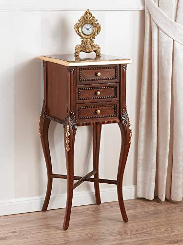 SIMONE GUARRACINO LUXURY DESIGN Beistellkommode Rudy Englischer Chippendale Stil 3 Schubladen walnuss und Blattgold