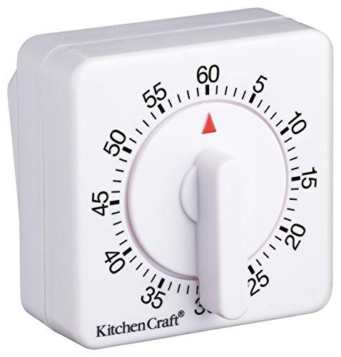 Kitchen Craft KCTIM1HR Minuteur mécaniquement en Plastique Blanc, 9 x 12 x 16 cm