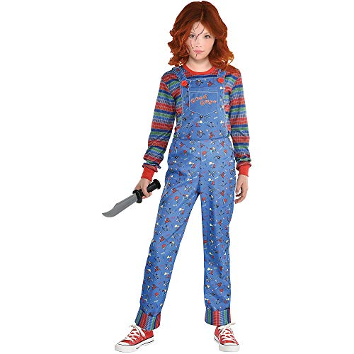 Party City Chucky Halloween Costume for Girls, Child's Play, Medium (8-10), Includes Jumpsuit