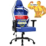Gaming Chair Big and Tall Office Chair 500lb Wide Seat Desk Chair with Lumbar Support Headrest 2D Arms Task Swivel Ergonomic High Back PU Adjustable Massage Racing Computer Chair for Adults Game