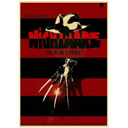 MXIBUN A Nightmare On Elm Street Poster Film Horror Pittura Retro Stampato Tela di Seta Murales Decorazione della Parete-60X80Cmx1 Senza Cornice