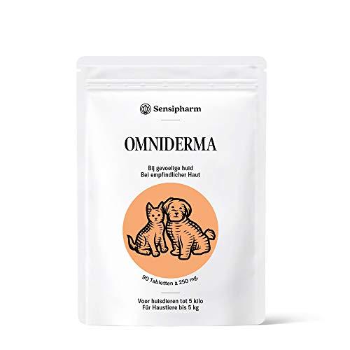 Sensipharm Omiderma - Hilft Natürlich bei Ekzem, Juckreiz, Haut, Fell, Probleme - 90 Tabletten a 250 mg. für Katzen, Hunde, Meerschweinchen, Kaninchen