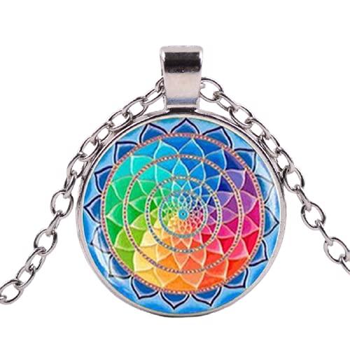 Clásico budismo hindú OM AUM signo de Buda Lotus collar 7 chakras colorido mandala flor de la vida colgante collares Yoga joyería