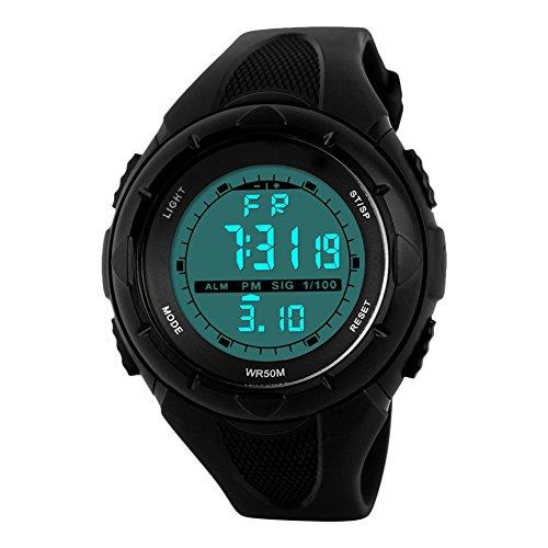 Jungen Digital Uhren, Kinder Outdoor Sport Militär Uhren mit 5 Bars Wasserdicht/Alarm für Jungen, Schwarz Kinder die elektronische LED Digital Uhr Unisex für Jugendliche von UEOTO