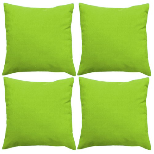 Gardenista | Premium Water Resistant Outdoor Foam Crumb Filled 18' Garden Furniture Scatter Cushion - 4 Pack (Lime)