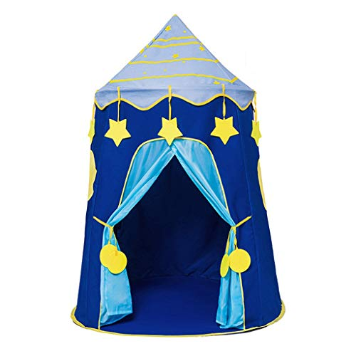 Tents Playhouse, Indian Teepee Mongolian Yurt for Baby Girl or Boy Birthday, Wigwam Play Teepee - Tipi (Color : Blue, Size : 110 * 110 * 150CM)