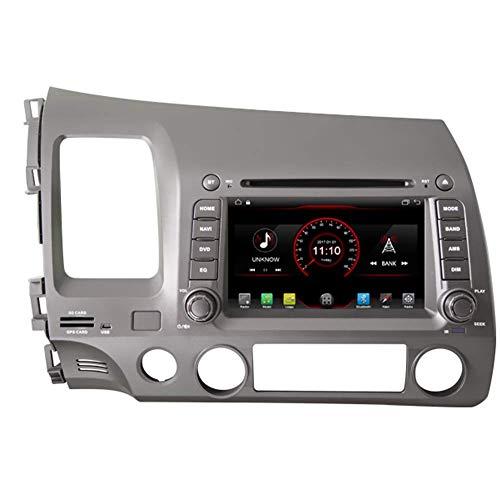 Android 10 HD Reproductor de DVD para automóvil GPS Unidad principal estéreo Nav Radio Multimedia WiFi para Honda Civic 2006 2007 2008 2009 2010 2011 Control del volante Enlace de espejo