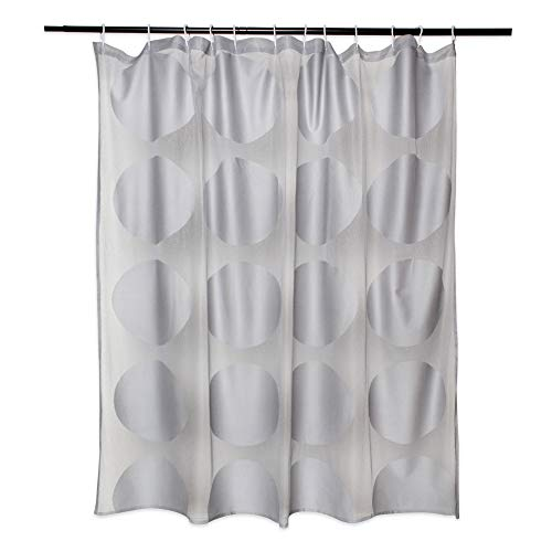 DII Oceanique Duschvorhang, elegant, modernes Kreis-Design, Wasser- & knitterfrei, 100 prozent Polyester, maschinenwaschbar, 183 x 183 cm, Grau