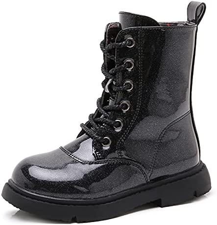 DADAWEN Boys Girls Waterproof Outdoor Lace-Up Combat Boots With Side Zipper for Kids