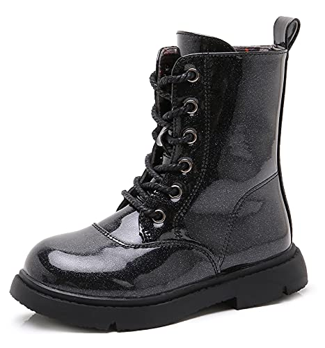DADAWEN Boys Girls Waterproof Outdoor Lace-Up Combat Boots With Side Zipper for Kids Black Shimmer US Size 11 M Little Kid