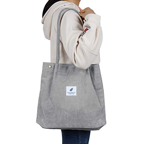 Corduroy Tote Bag with Inner Pocket Fashion Shopping Bag Totes for Women Reusable Grocery Bags for Work Beach Lunch Travel Easy to Fold Reinforced Handles Gray