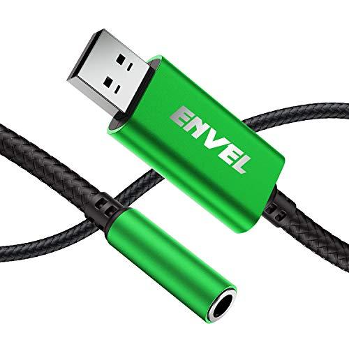 Adaptador de Auriculares de 3,5 mm Hembra a USB Macho, Tarjeta de Sonido estéreo Externa con Chip Integrado, Adaptador de USB a Auriculares con micrófono de 4 Polos TRRS para PC portátil PS4 y más