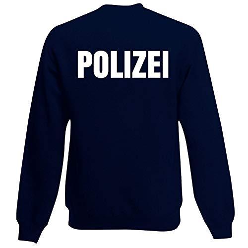 Shirt-Panda Herren Polizei Sweatshirt · Druck Brust & Rücken · Polizisten Pullover · Pulli für Polizeileute · Reflex · 80% Baumwolle · Police Sweater · Dunkelblau (Druck Weiß) L