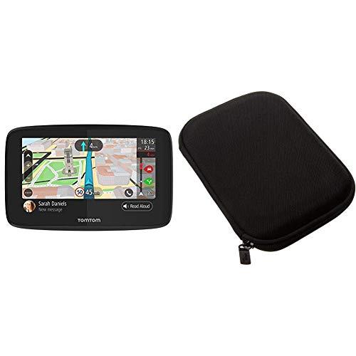TomTom GO 520 - Navegador 5 Pulgadas, Llamadas Manos Libres, actualizaciones Via Wi-Fi, Traffic para Toda la Vida Mediante Smartphone y mapas mundiales + Amazon Basics Funda para GPS de 5'', Negro