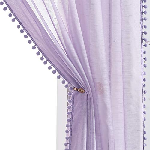 Treatmentex Pom-Pom Sheer Curtains for Girl's Bedroom 84 inches Long Voile Curtain Panels Rod Pocket Lilac 52' w x 2pc