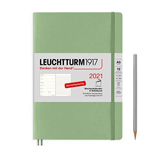 LEUCHTTURM1917 Wochenkalender & Notizbuch 2021 Softcover Medium (A5), 12 Monate, Salbei, Deutsch