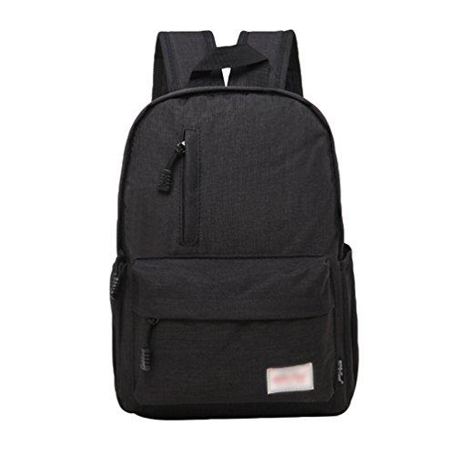 ZKOO Zaino Tela Scuola Zaino Uomini Donne Zaini Scuola Borse Viaggi Zaino PC Portatili Backpack Daypack Studentesco Casual Nero