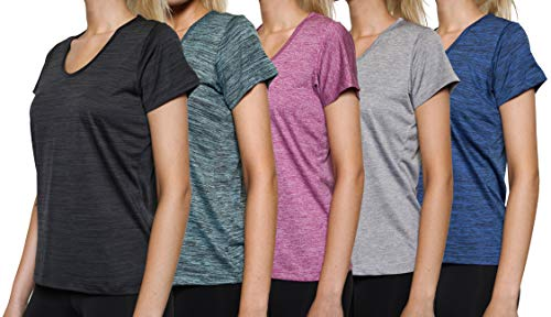 5 Pack: Womens V Neck T-Shirt Ladies Yoga Top Athletic Active Wear Gym Workout Zumba Exercise Running Quick Dry Fit Dri Fit Clothes - Set 1,S
