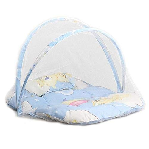 WYCYZJ 2018 Brand New Portable Foldable Baby Kids Infant Bed Dot Zipper Mosquito Net Tent Crib Sleeping Cushion collapsible portable,Blue