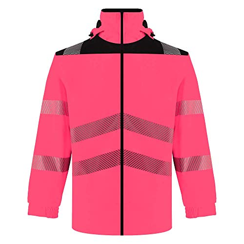 SMASYS Safety High Vis Oxford Reflective Jacket, Waterproof Bright Visibility Raincoat Men Construction Protective Workwear (Pink,4XL)