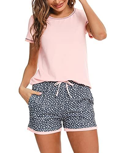 NB Pijama Verano Mujer Corto Algodón Pijamas Mujer Manga Corta Pijama Sexy Mujer Ropa para Dormir con Camiseta y Pantalon Talla Grande, Rosa, L