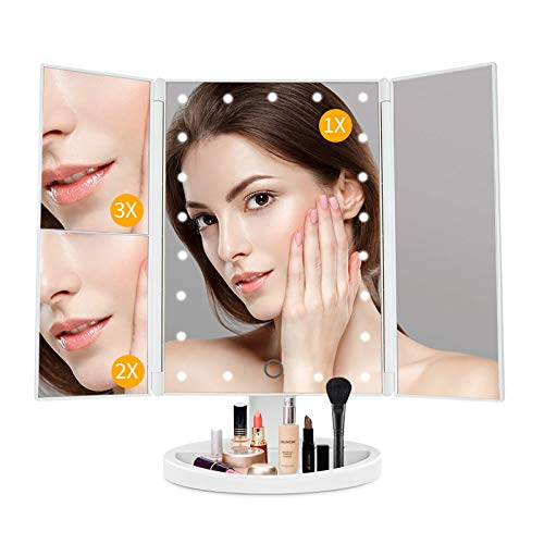 Lighted Vanity Mirror Makeup Mirror with Lights-light up Mirror,1X/2X/3X Magnification,Two Power Supply Mode,Touch Control,Tabletop Cosmetic Makeup Mirror for Girls and Women