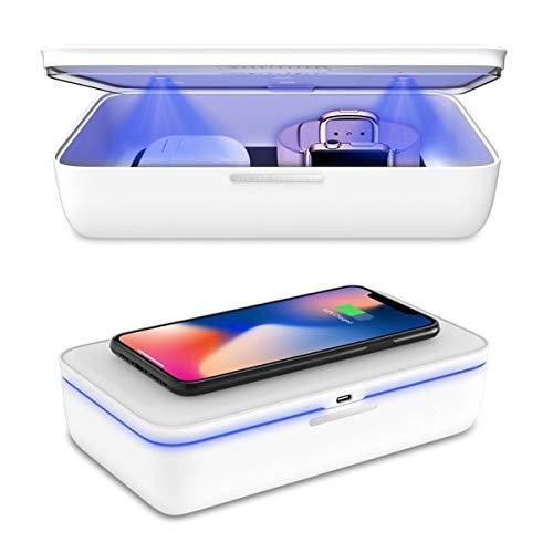 Sterilizzatore UV, kit di disinfezione per smartphone, maschera, chiavi, caricatore senza fili 9 LED elimina il 99% di batteri.