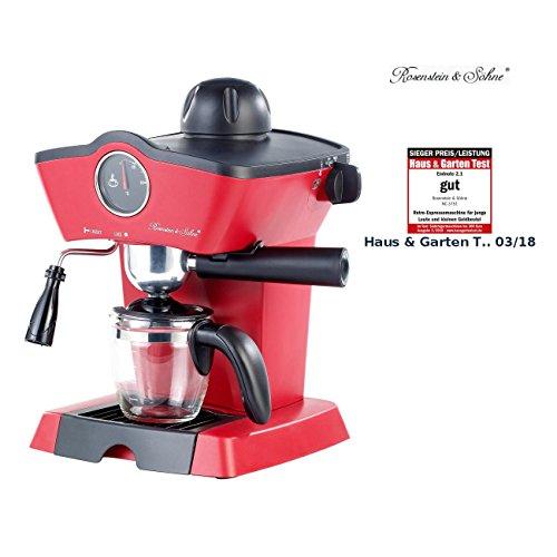 Rosenstein & Söhne Espressomaschine Retro: Dampfdruck-Siebträger-Espressomaschine mit Milchaufschäumer (Kaffeemaschinen)